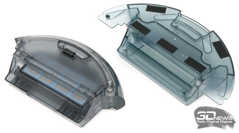 Сравнение контейнера для пыли и мусора (слева) с комбинированным контейнером (справа)