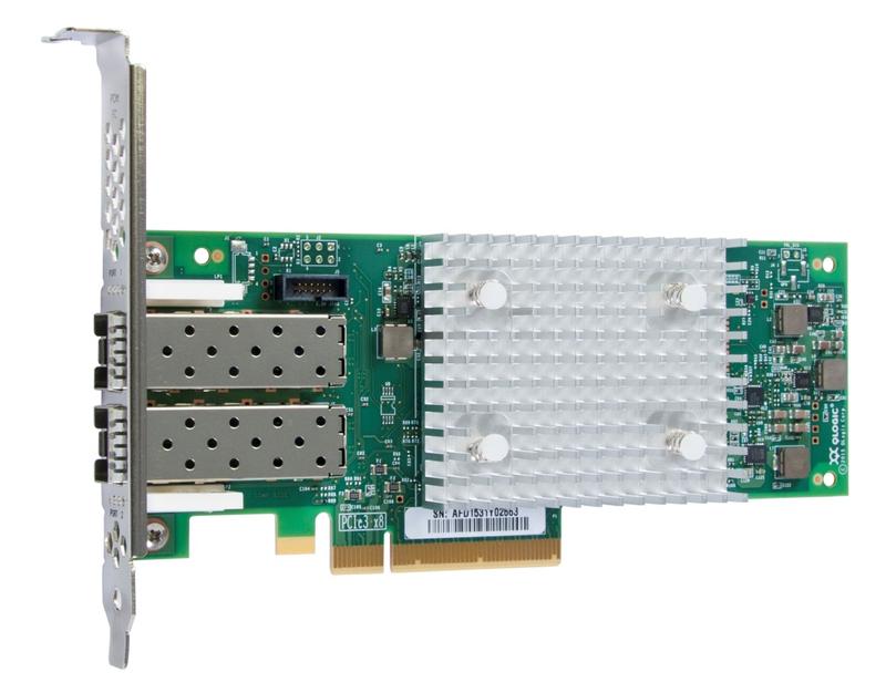 Типичный HBA-адаптер Fibre Channel. Шестое поколение, 32 Гбит/с