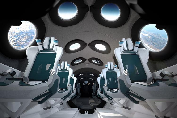 Внутреннее убранство туристического космического корабля VSS Unity