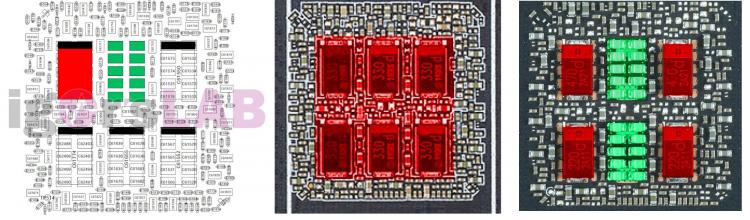 Cхемотехника референсной платы NVIDIA PG132 (слева), Zotac Trinity (в центре), ASUS TUF (справа)