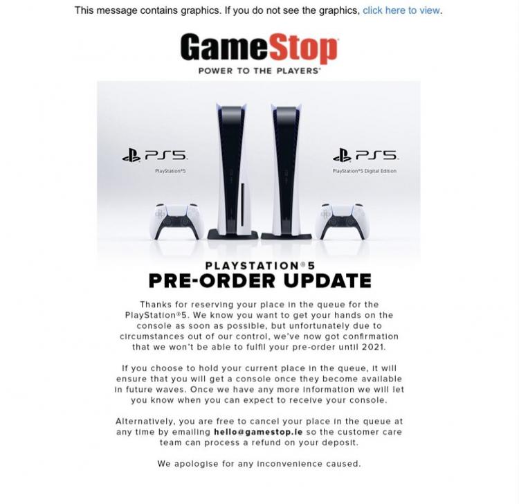 Ирландский магазин уведомил некоторых покупателей, что их заказы на PS5 не получится исполнить в этом году