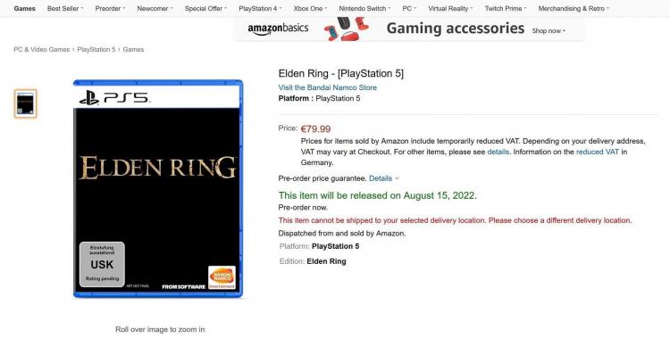 Слухи: на сайте немецкого Amazon на короткое время появилась неправдоподобная дата выхода Elden Ring