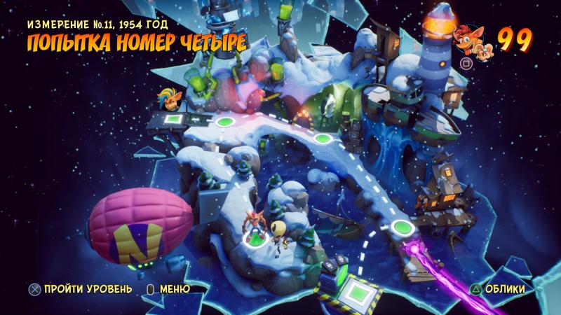 Карта мира в четвёртой части тоже напоминает о самой первой Crash Bandicoot