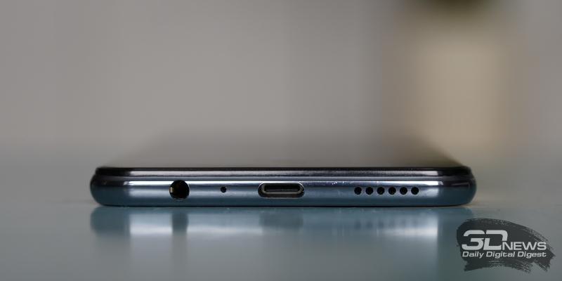 vivo V20, нижняя грань: мини-джек (3,5 мм), микрофон, порт USB Type-C и основной динамик