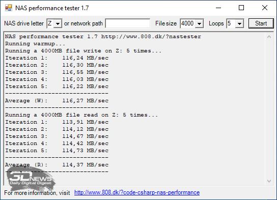 Производительность Synology DS220+ с дисками в массиве RAID1 и зашифрованной папкой