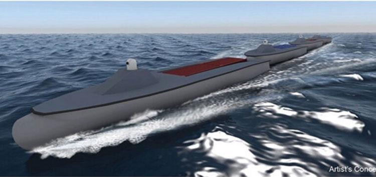 Концепция «морских поезжов» в представлении художника (DARPA)