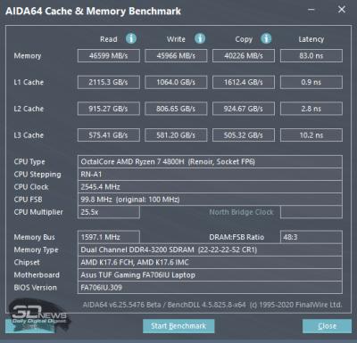 Тест памяти AIDA64 Extreme (аккумулятор)
