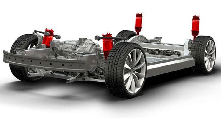 Красным на картинке обозначены узлы подвески электромобилей Tesla, в котрых китайские регуляторы подозревают дефект