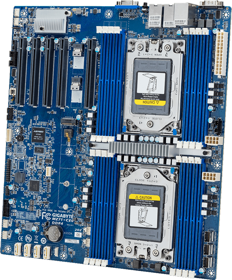 GIGABYTE MZ71-CE0 and MZ71-CE1 are designed to work with two AMD EPYC chips