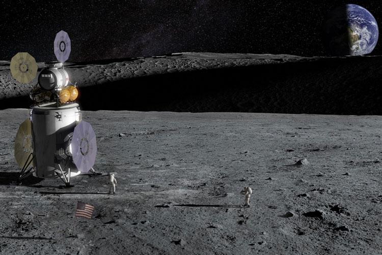 Лунный посадочный модуль в представлении художника. Источник изображения: NASA