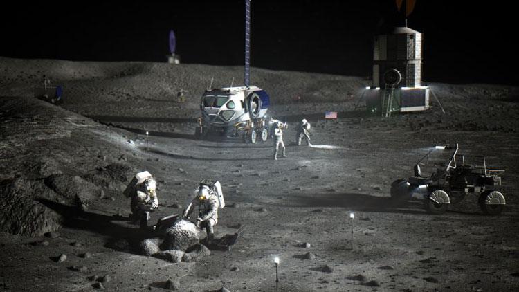 Будущая луная база в представлении ходожника. Источник изображения: NASA