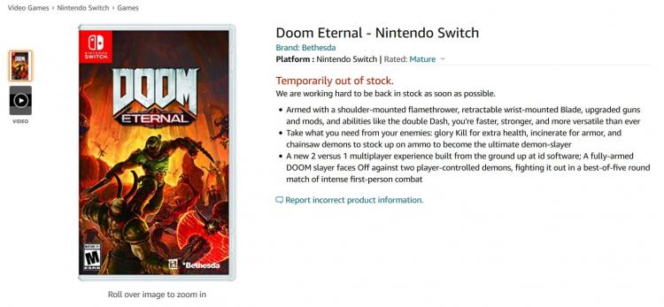 Страница Switch-версии DOOM Eternal на Amazon