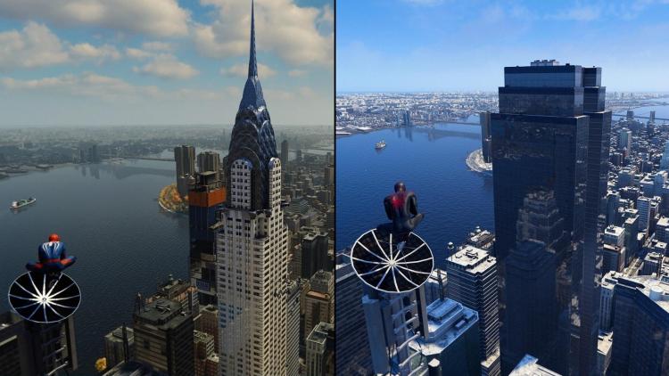 Крайслер-билдинг в Marvel's Spider-Man: Remastered (слева) и его замена в Marvel's Spider-Man: Miles Morales (справа)