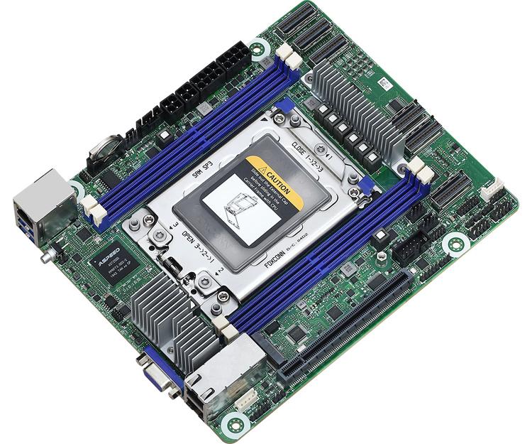 Плата ASRock Rack ROMED4ID-2T выполнена в необычном формате Deep Mini-ITX