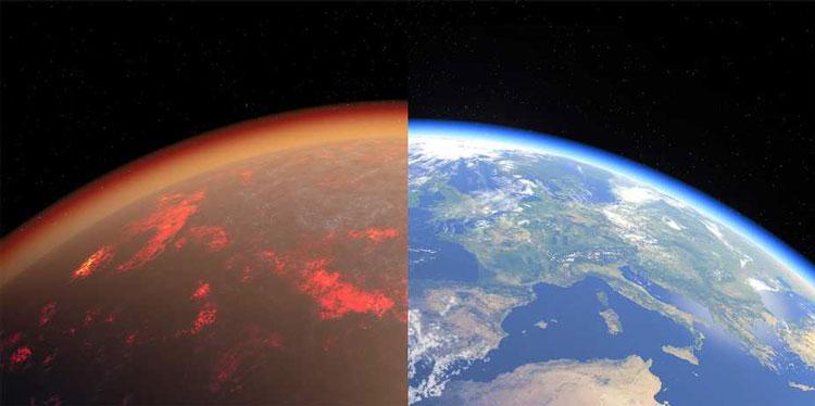 Земля 4,5 млрд лет назад и сегодня в представлнии художника. Источник изображения: Tobias Stierli / NCCR PlanetS
