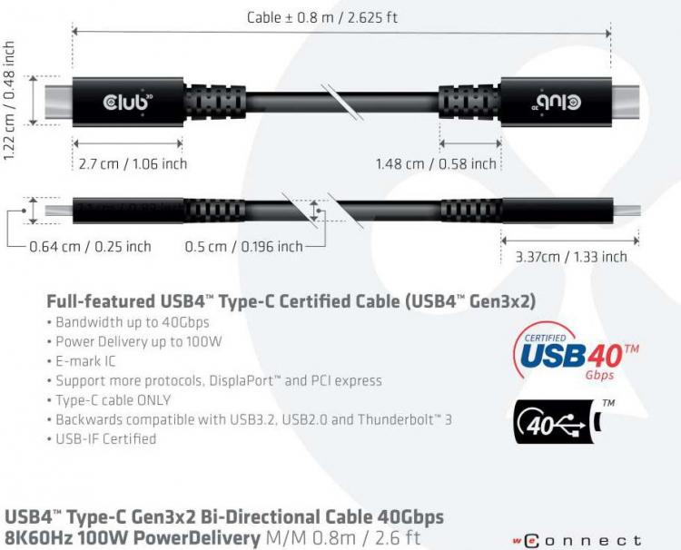 Club 3D представила один из первых кабелей, полностью совместимых с USB 4