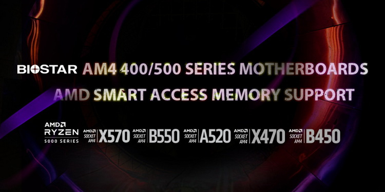 Biostar boards on the AMD B550 and X570 have received Smart Access Memory support. Models on the AMD B450 and X470 are as follows