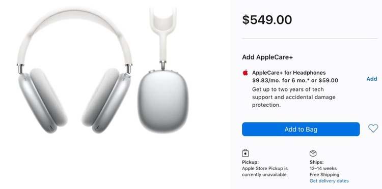 Apple AirPods Max оказались в дефиците несмотря на заоблачную цену— некоторые заказы придётся ждать до марта