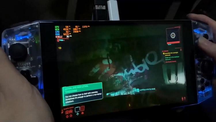 Cyberpunk 2077 запустили на портативной консоли Aya Neo с процессором AMD Ryzen 5 4500U3