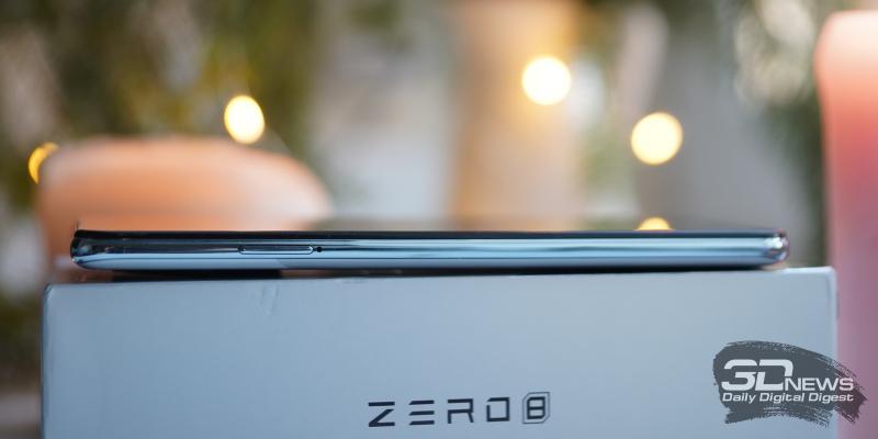 Infinix Zero 8, левая грань: слот для двух SIM-карт и одной карты памяти MicroSD