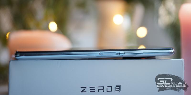 Infinix Zero 8, правая грань: клавиша регулировки громкости и клавиша включения/блокировки со встроенным датчиком отпечатков пальцев