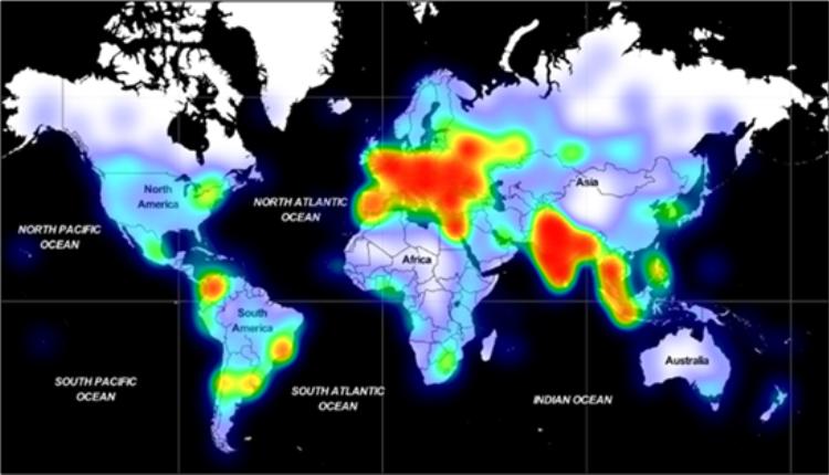 Масштаб глобального распространения вредоносного ПО Adrozek