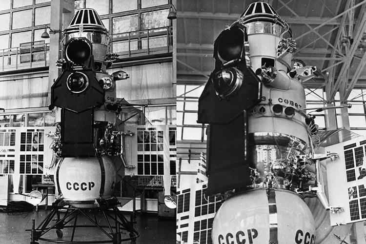 Межпланетная автоматическая станция «Венера-7» на подставке в монтажно-испытательном корпусе. Фото из архива РГАНТД