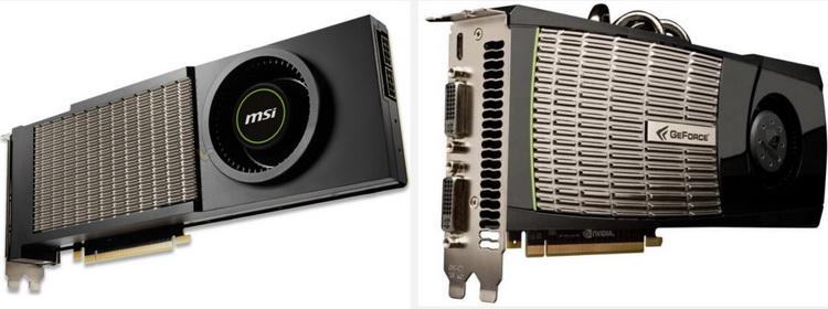 MSI GeForce RTX 3090 AERO (слева) и GeForce GTX 480 FE (справа)