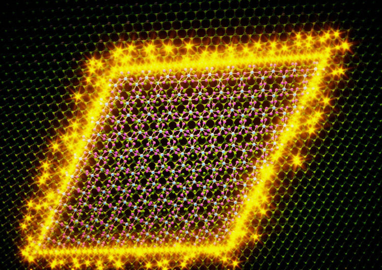 Одномерный майорановский фермион с нулевой энрегией на границе двух двумернх материалов. Источник изображения: Aalto University