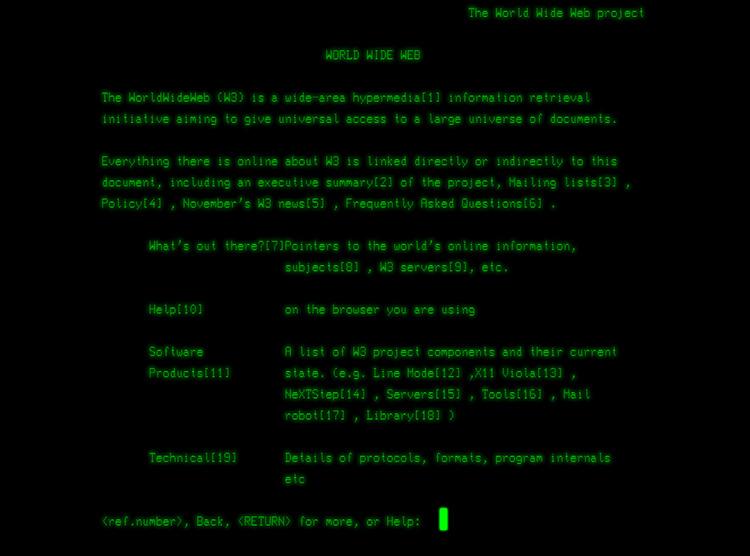 Скриншот, воссоздающий первый сайт (CERN)