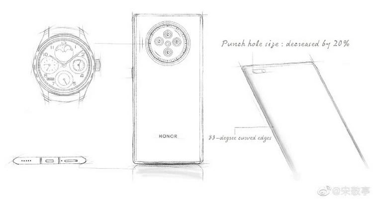 Флагманские смартфоны Honor V40 получат тыльную камеру, оформленную в стиле наручных часов