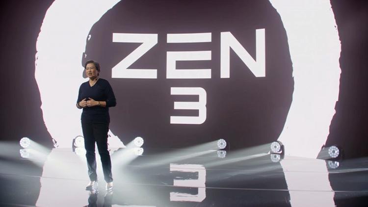 Глава AMD Лиза Су на фоне логотипа Zen 3 (Golem)