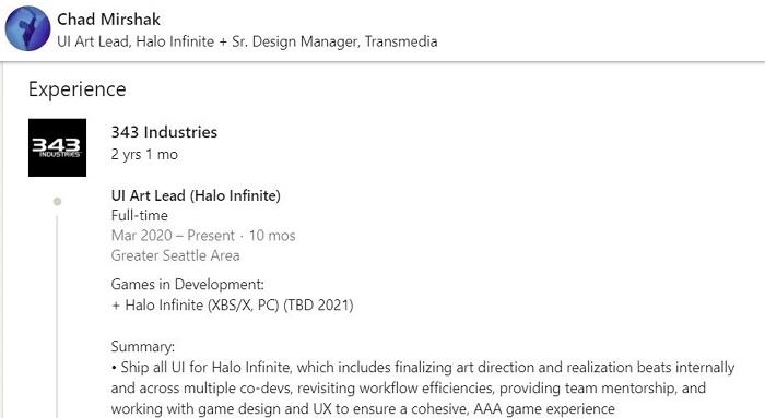 В резюме разработчика Halo Infinite углядели намёк на отказ от версии для Xbox One