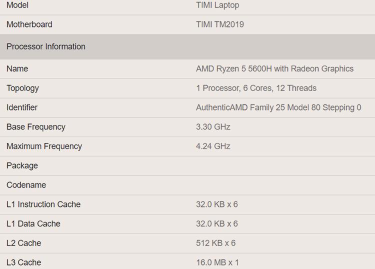 Технические характеристики AMD Ryzen 5 5600H (Geekbench)