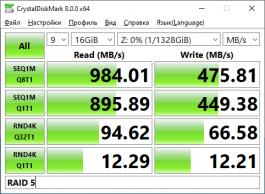 Производительность ASUSTOR LOCKERSTOR 8 с дисковым массивом уровней RAID 5 (объём файла 16 Гбайт)