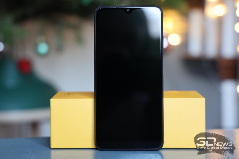 Xiaomi POCO M3, лицевая панель: фронтальная камера в вырезе в верхней части, под верхней кромкой — динамик