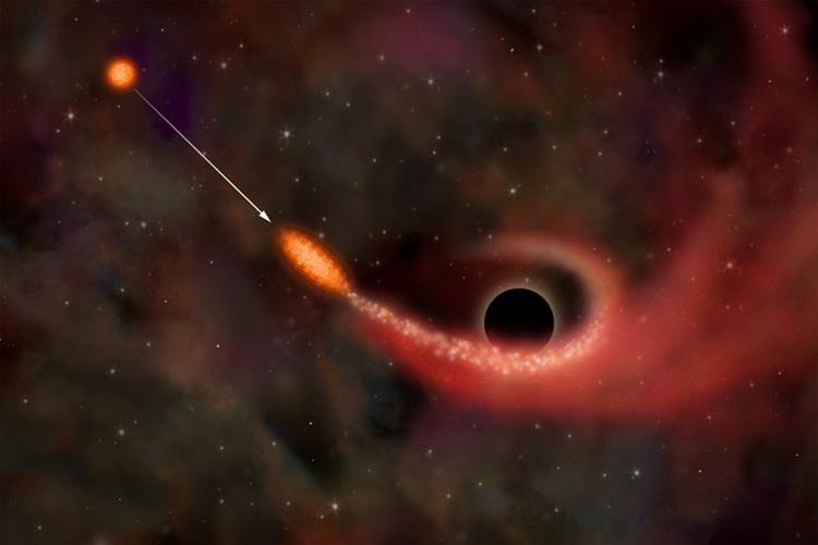 Событие приливного разрушения звезды в гравитационном поле сверхмассивной черной дыры в представлении художника / изображения ИКИ РАН