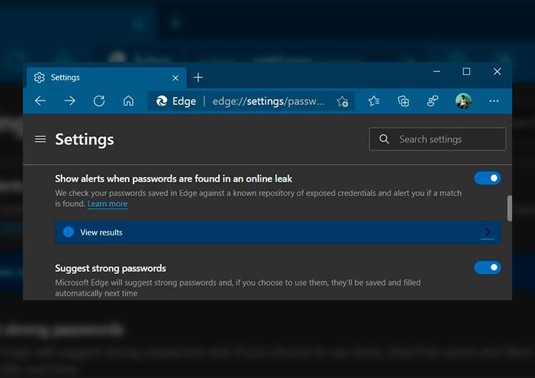 Скриншот новой сборки Microsoft Edge