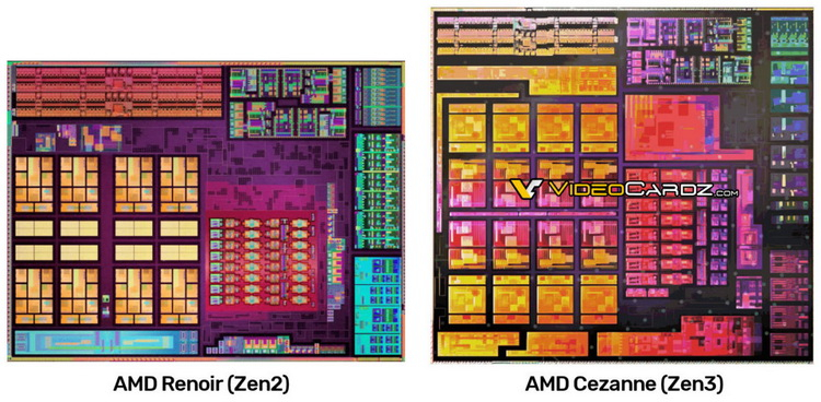 AMD Cezanne's Zen 3 mobile processor chip image has been published - the chip is larger than Renoir's
