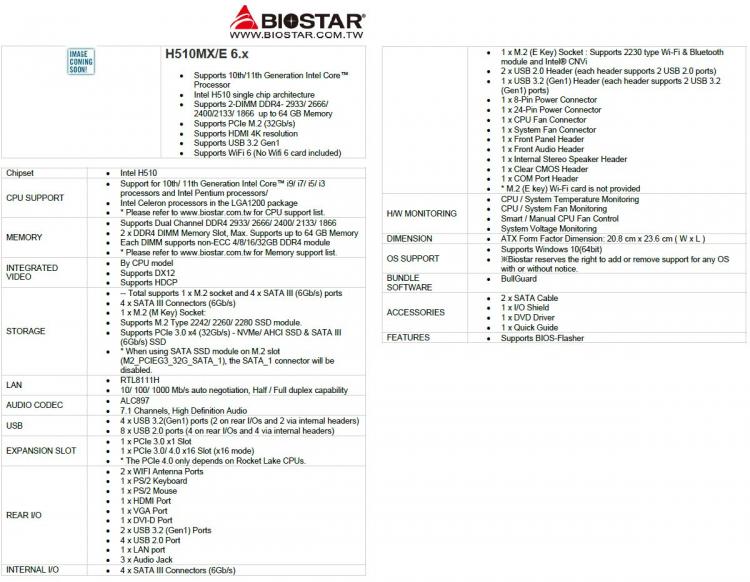 Особенности материнских плат Biostar на чипсете Intel H510