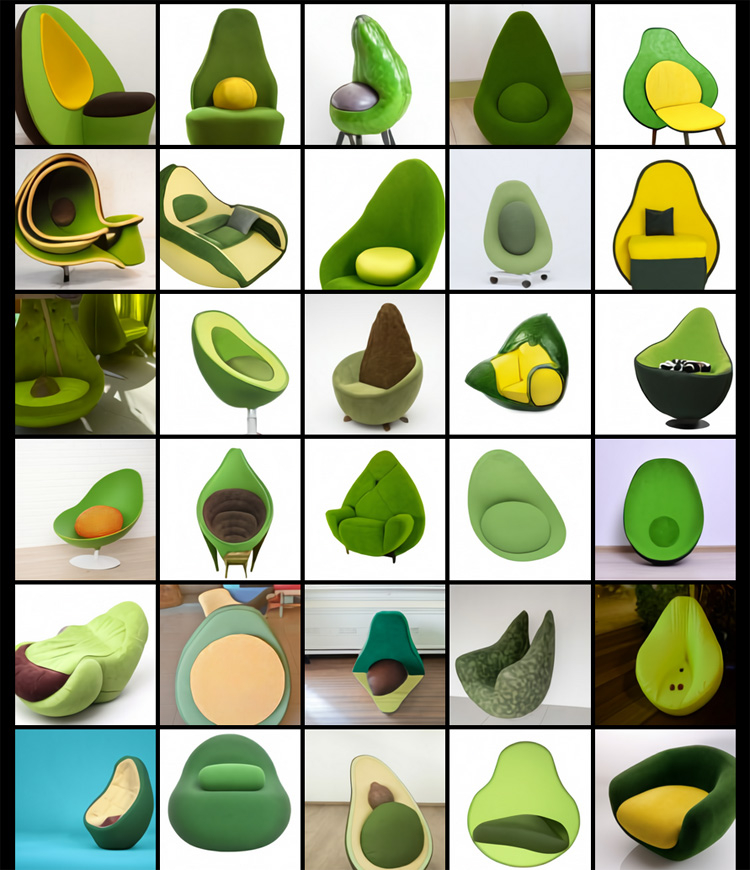 Кресло в форме авокадо, автор DALL-E