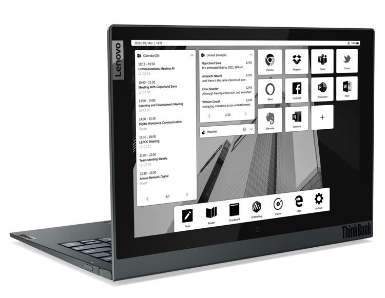 Представлен ноутбук Lenovo ThinkBook Plus Gen 2 i с дополнительным большим дисплеем E Ink на крышке