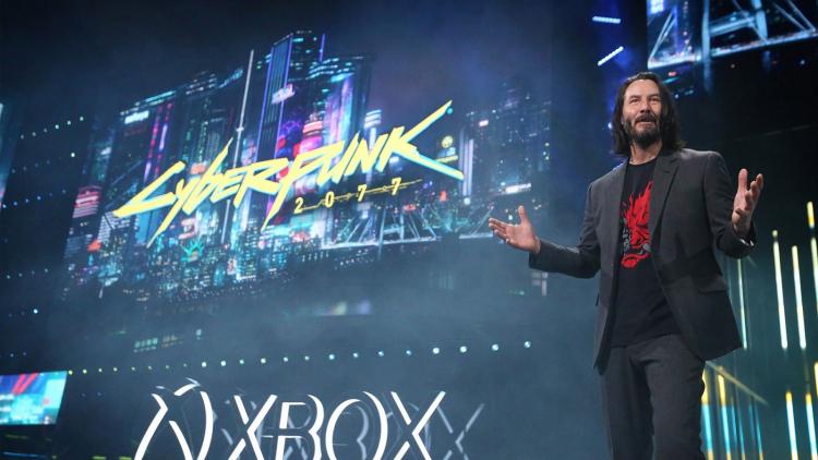 Киану Ривз (Keanu Reeves) на презентации Cyberpunk 2077 в рамках E3 2019