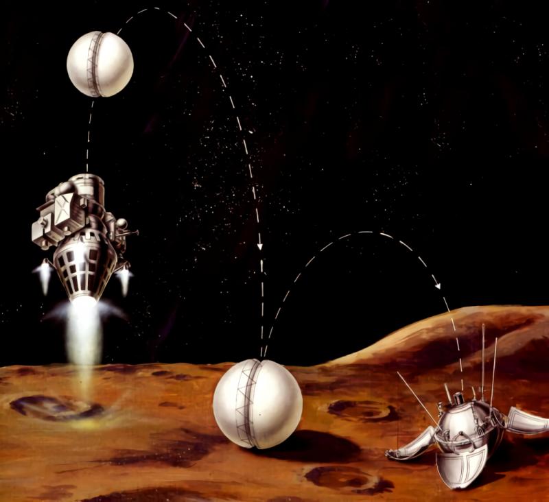 Момент окончания работы КТДУ-5А, выключения двигателя и отделения АЛС. Источник: https://www.laspace.ru/projects/planets/luna-9/