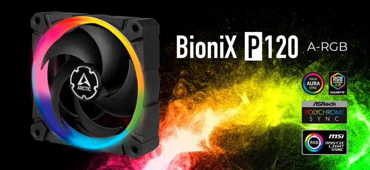 Представлен вентилятор Arctic BioniX P120 A-RGB с подсветкой из 12 светодиодов