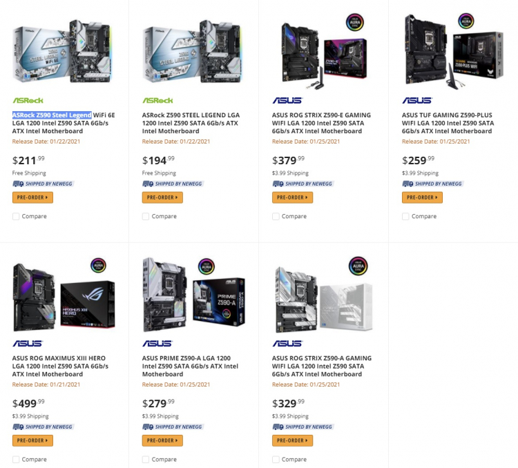 """Продажи материнских плат на чипсете Intel Z590 начнутся с 22 января"""""""