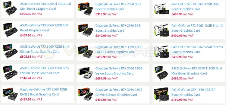 """Первые цены на различные варианты GeForce RTX 3060 намекают на ожидаемый дефицит"""""""