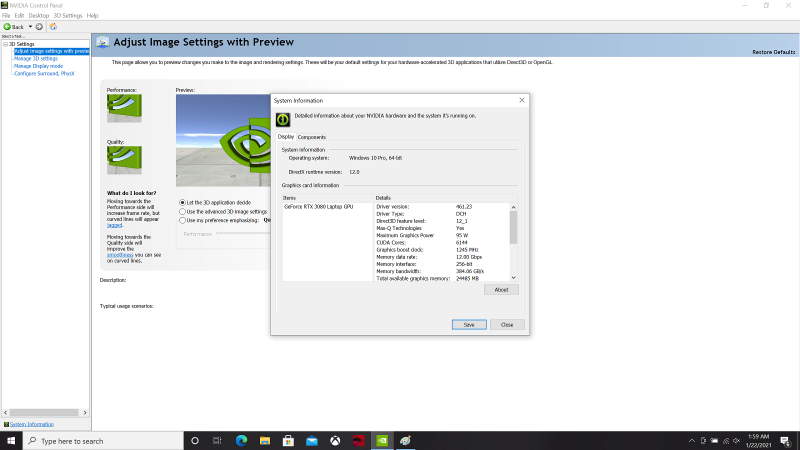Посмотреть энергопотребление GPU Ampere в ноутбуке можно, например, во вкладке System Information драйвера NVIDIA. Правда, для этого ноутбук сначала необходимо купить…