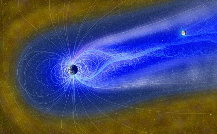 Луна в тени магннитосферы Земли в представлении художника. Источник изображения: E. Masongsong, UCLA EPSS, NASA GSFC SVS
