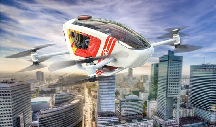Концептуальное представление беспилотной летающей скорой помощи. Источник изображения: EHang
